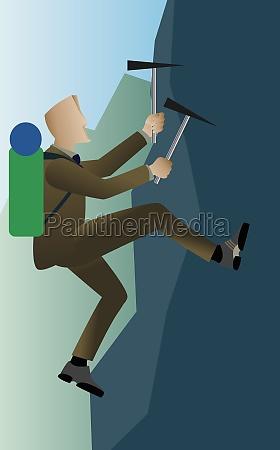 businessman ice climbing