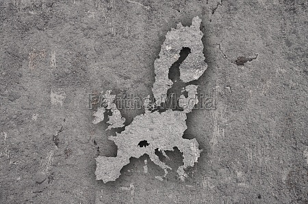 map of european union on weathered
