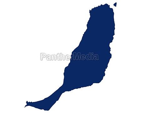karte von fuerteventura in blauer farbe