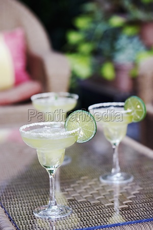 close up of three glasses of
