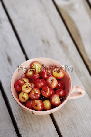 high angle view of cherries in