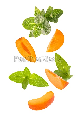 falling down mint herb and apricots