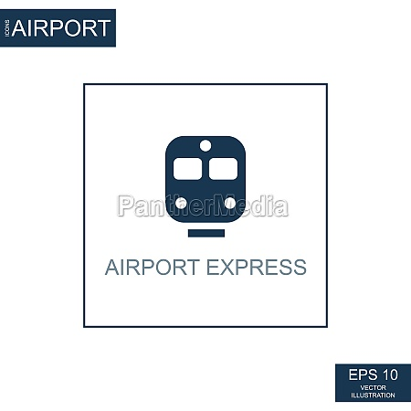 abstract icon express train on airport