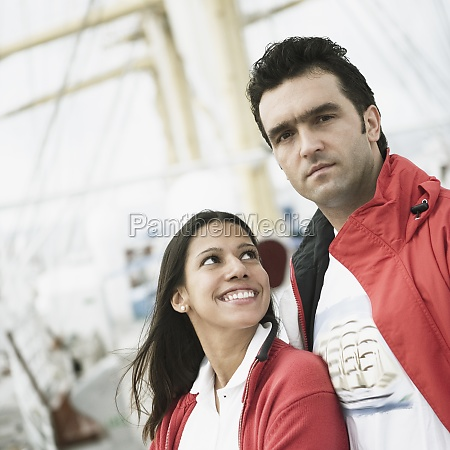 young couple on a passenger craft
