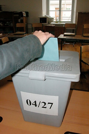 ballot box in a polling station