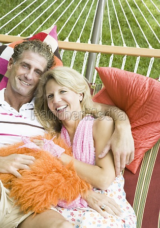 portrait of a mature couple lying