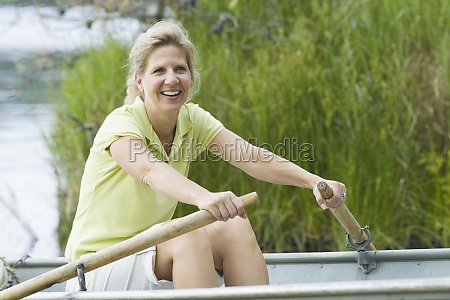 portrait of a mature woman rowing