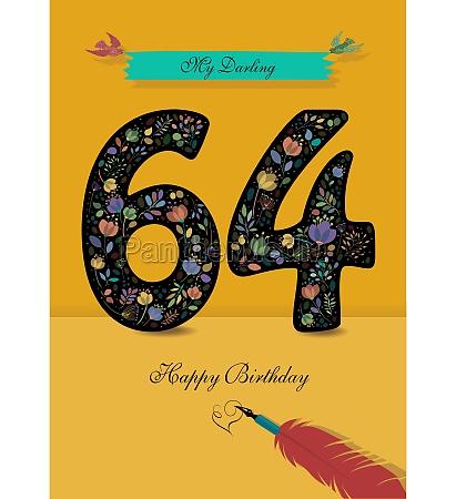 floral number 64 birthday card inkpen