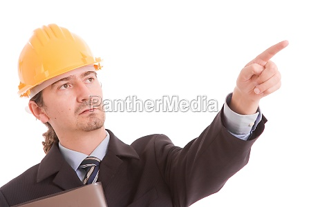 engineer with yellow hat pointing forward