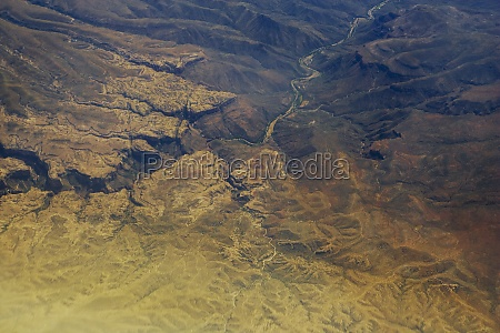 aerial view of an arid landscape