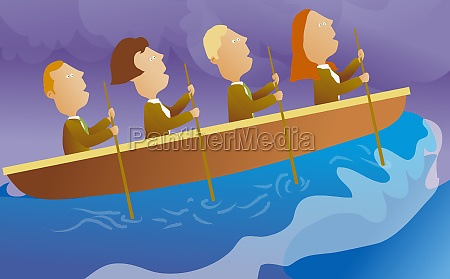 businesspeople rowing a boat