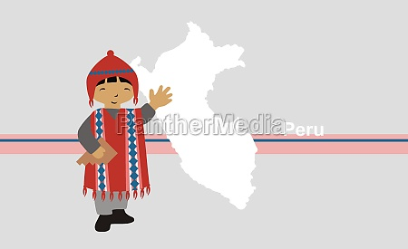 boy in traditional clothing near map