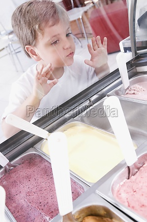 boy choosing ice cream in an