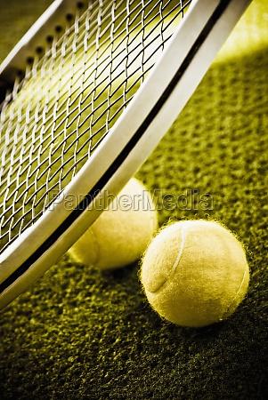 closeup of a tennis racket and