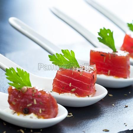 macro close up of tuna appetizers