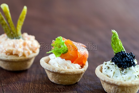 mini tartlets with savory filling