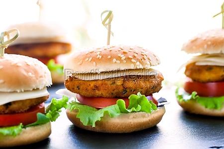 multiple mini chicken burgers