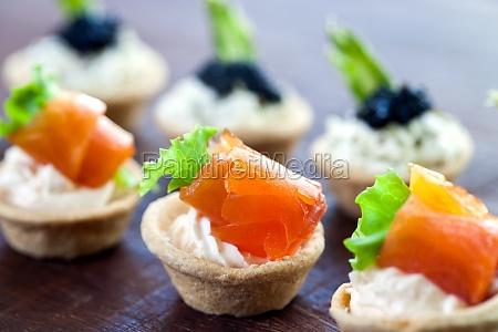 multiple mini seafood pastry tartlets