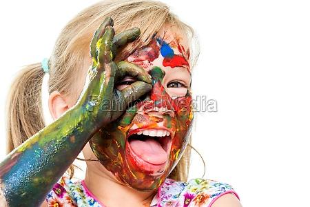 fun portrait of painted infant