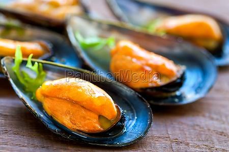 appetizing sea mussels