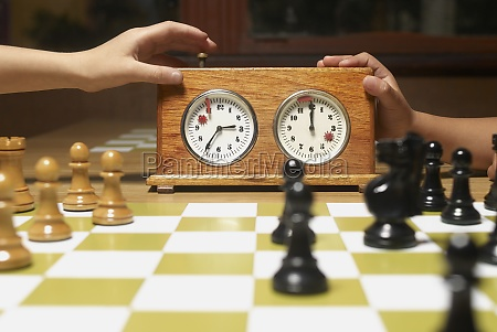 closeup of chess pieces with a