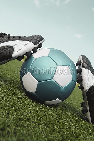 closeup of a soccer ball and