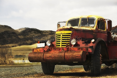 truck on a field montana usa