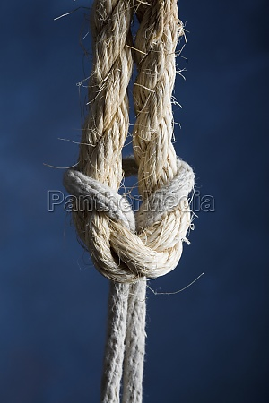 closeup of ropes with reef knot