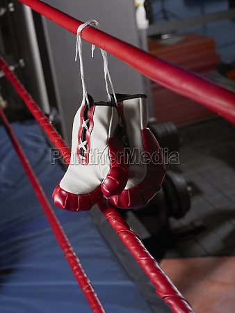 pair of boxing gloves hanging on