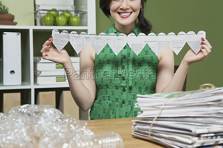 woman showing a paper chain