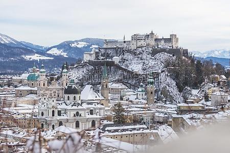 panorama of salzburg in winter snowy