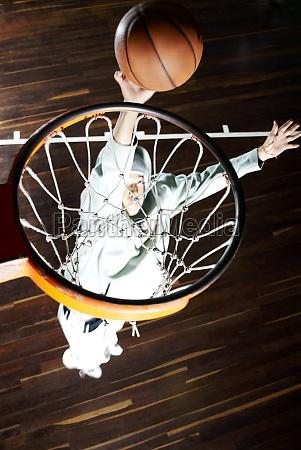 high angle view of a basketball