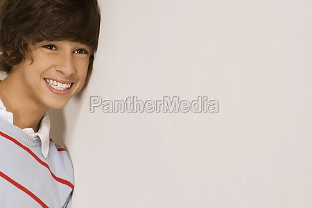 closeup of a teenage boy smiling