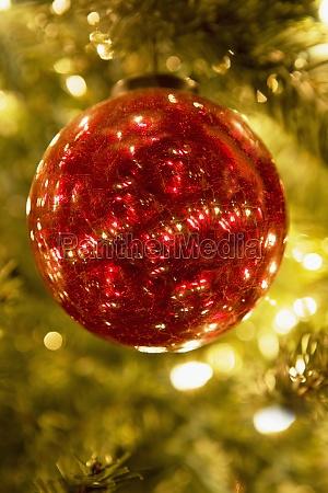 closeup of a christmas ornament
