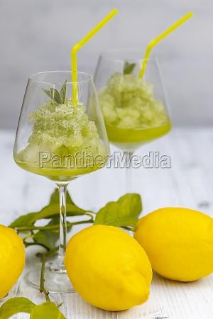 still life with lemon mint sorbet