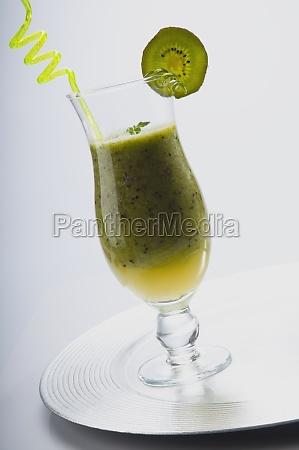 closeup of a glass of kiwi