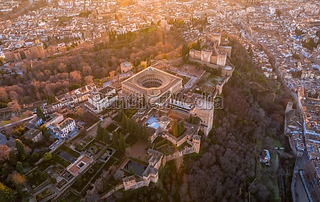 areial view of the alhambra red