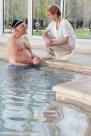 man in a swimming pool and