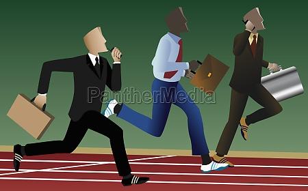 three businessmen running on a running