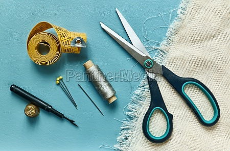 scissor measure thread thimble and pins