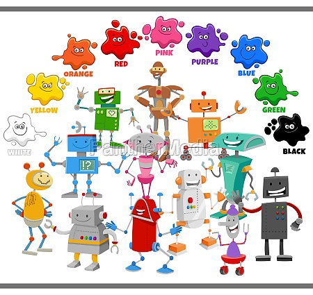basic colors for children with robot