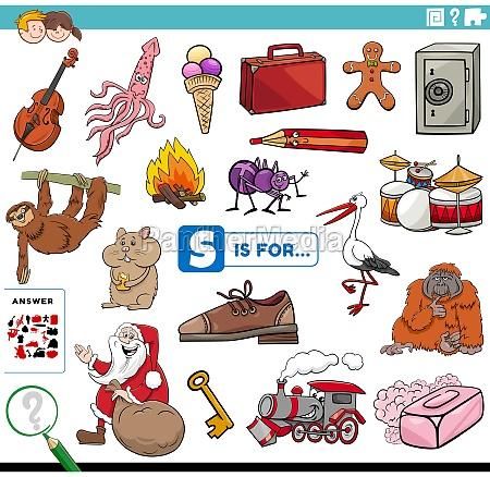 letter s words educational task for