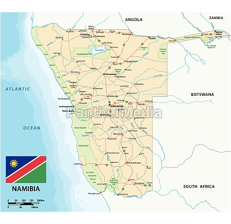 vector road map of namibia with