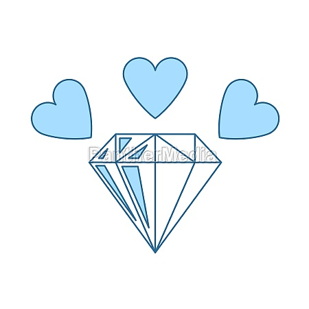 diamond with hearts icon
