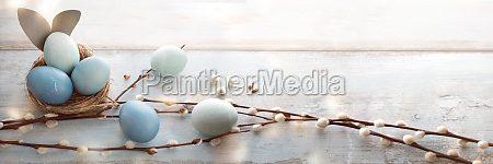 tender blue easter eggs on vintage