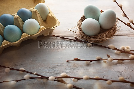 tender blue easter eggs on vintage