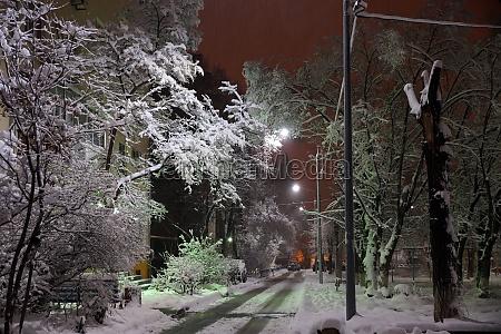 winter city landscape in the dark