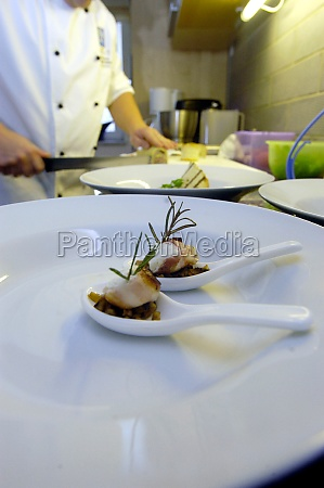 the preparation of dishes in the