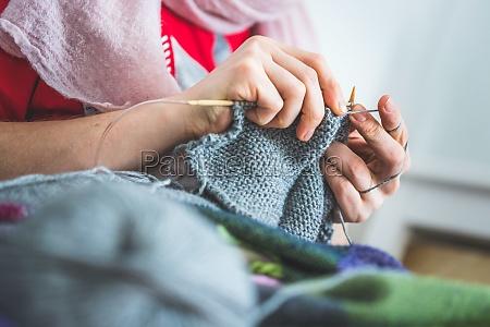 knitting at home close up of