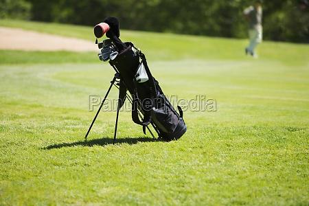 golf bag on a golf course